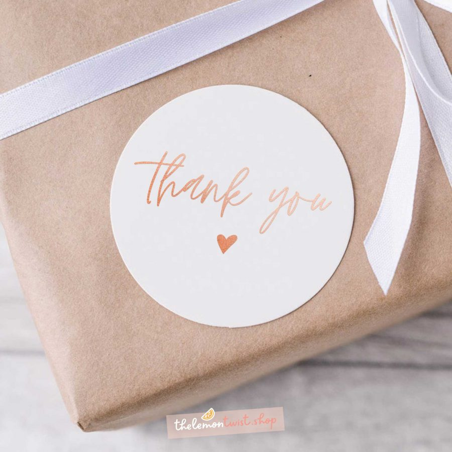 thank you and heart stickers with rose gold foil