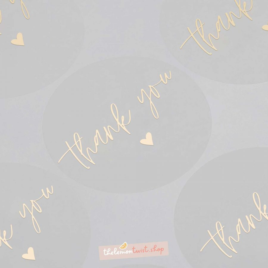 thank you and heart stickers with gold foil