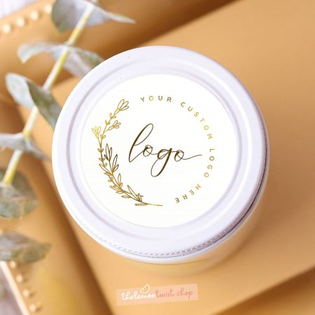 custom logo stickers with gold foil and white background