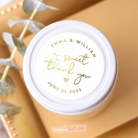 a sweet thank you stickers with gold foil