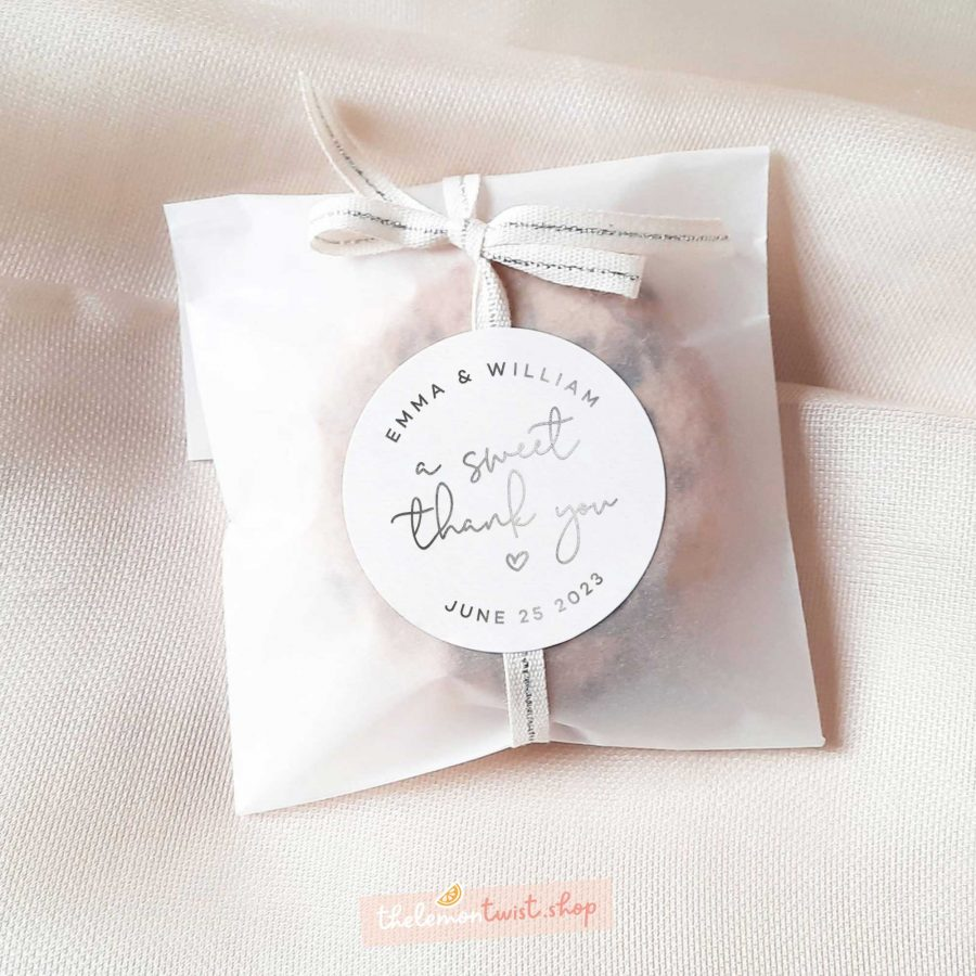 a sweet thank you stickers with silver foil