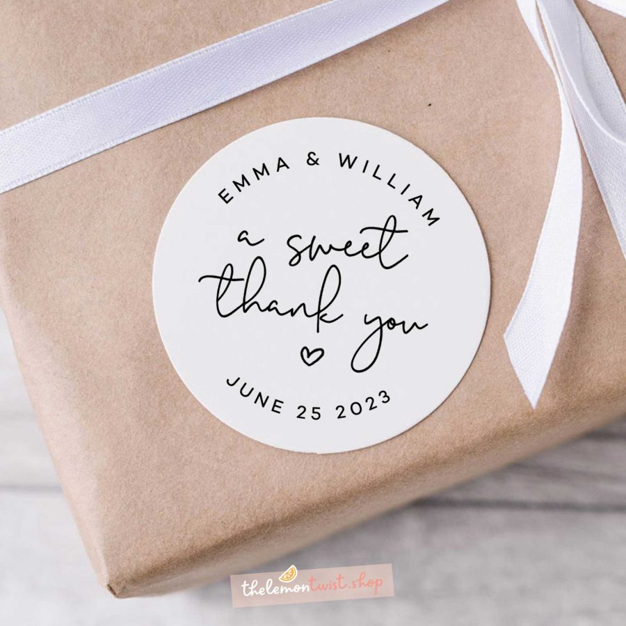 a sweet thank you stickers with black printing