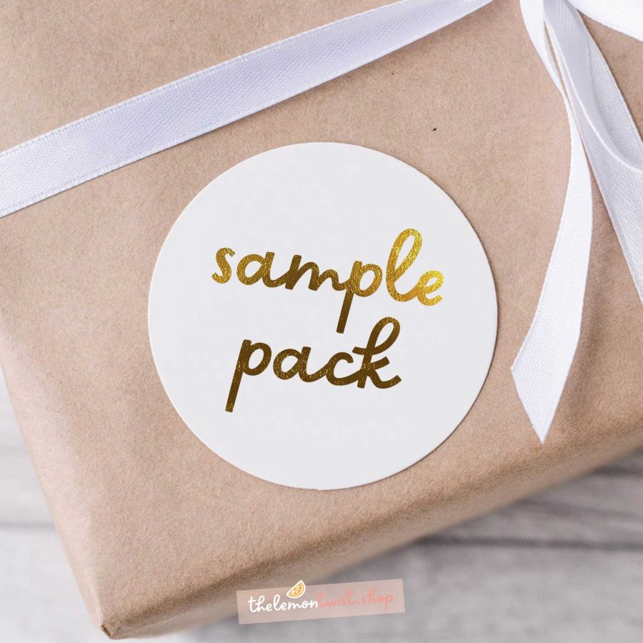 sample pack with gold foil